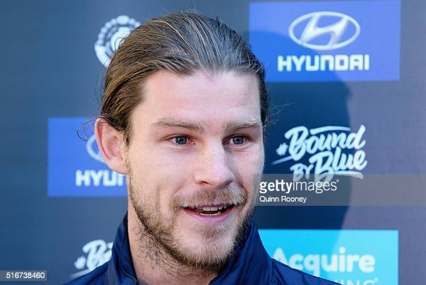 Bryce Gibbs of the Blues talks to the media during the Carlton Blues AFL training session at Ikon Park on March 21 2016 in Melbourne Australia