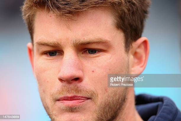 Bryce Gibbs speaks to the media during a Carlton Blues AFL media session at Visy Park on July 2 2012 in Melbourne Australia