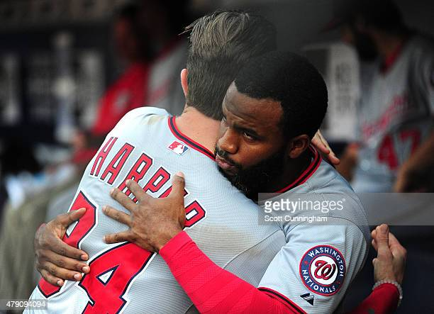 Bryce Harper and Denard Span of the Washington Nationals greet before the game against the Atlanta Braves at Turner Field on June 30 2015 in Atlanta...