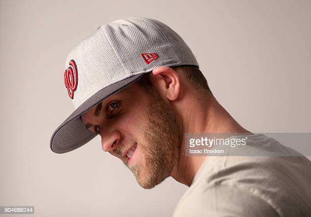 Bryce Harper joins New Era Cap for a photo shoot to announce a partnership January 8 2016 in Las Vegas Nevada