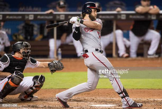 Bryce Harper of the Miami Marlins bats during a MLB game against the Washington Nationals at Marlins Park on August 1 2017 in Miami Florida