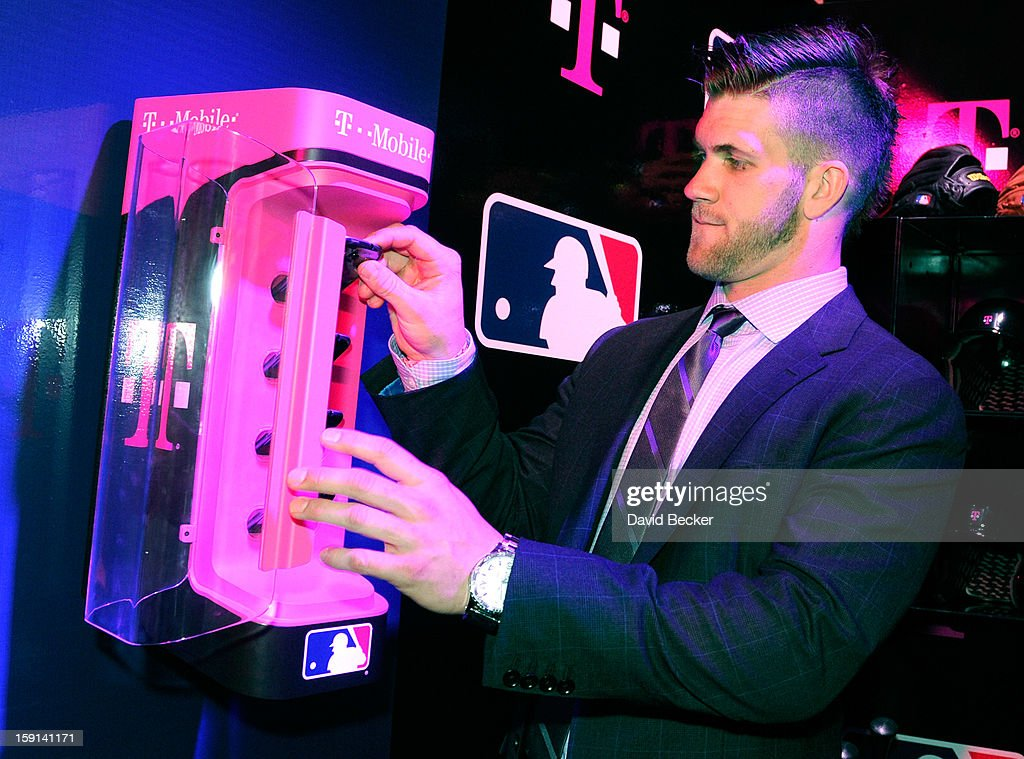 Bryce Harper of the Washington Nationals appears at a T-Mobile news conference at the 2013 International CES at The Venetian on January 8, 2013 in Las Vegas, Nevada. T-Mobile announced a partnership with Major League baseball. CES, the world's largest annual consumer technology trade show, runs through January 11 and is expected to feature 3,100 exhibitors showing off their latest products and services to about 150,000 attendees.