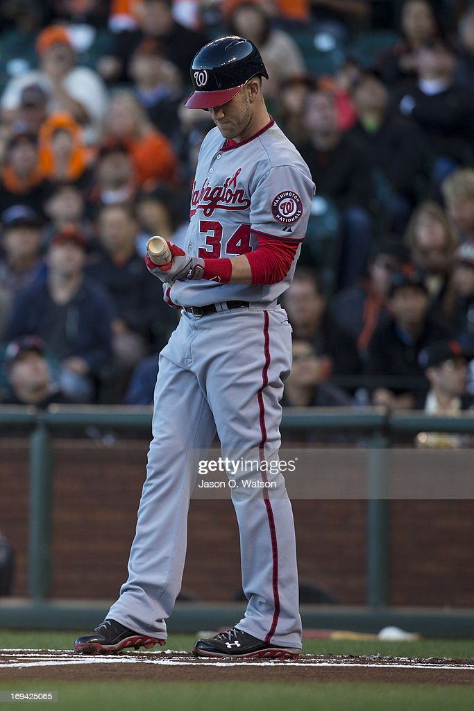 <a gi-track='captionPersonalityLinkClicked' href=/galleries/search?phrase=Bryce+Harper&family=editorial&specificpeople=5926486 ng-click='$event.stopPropagation()'>Bryce Harper</a> #34 of the Washington Nationals at bat against the San Francisco Giants during the first inning at AT&T Park on May 21, 2013 in San Francisco, California. The San Francisco Giants defeated the Washington Nationals 4-2 in 10 innings.