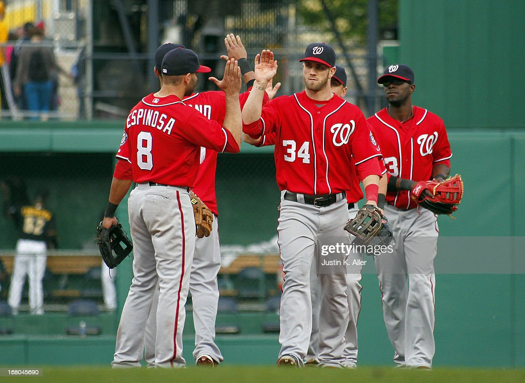 <a gi-track='captionPersonalityLinkClicked' href=/galleries/search?phrase=Bryce+Harper&family=editorial&specificpeople=5926486 ng-click='$event.stopPropagation()'>Bryce Harper</a> #34 of the Washington Nationals celebrates after defeating the Pirates on May 4, 2013 at PNC Park in Pittsburgh, Pennsylvania. The Nationals defeated the Pirates 5-4.