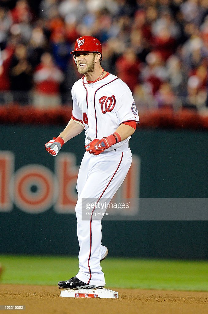 <a gi-track='captionPersonalityLinkClicked' href=/galleries/search?phrase=Bryce+Harper&family=editorial&specificpeople=5926486 ng-click='$event.stopPropagation()'>Bryce Harper</a> #34 of the Washington Nationals celebrates after hitting a double in the sixth inning against the Philadelphia Phillies at Nationals Park on October 1, 2012 in Washington, DC.