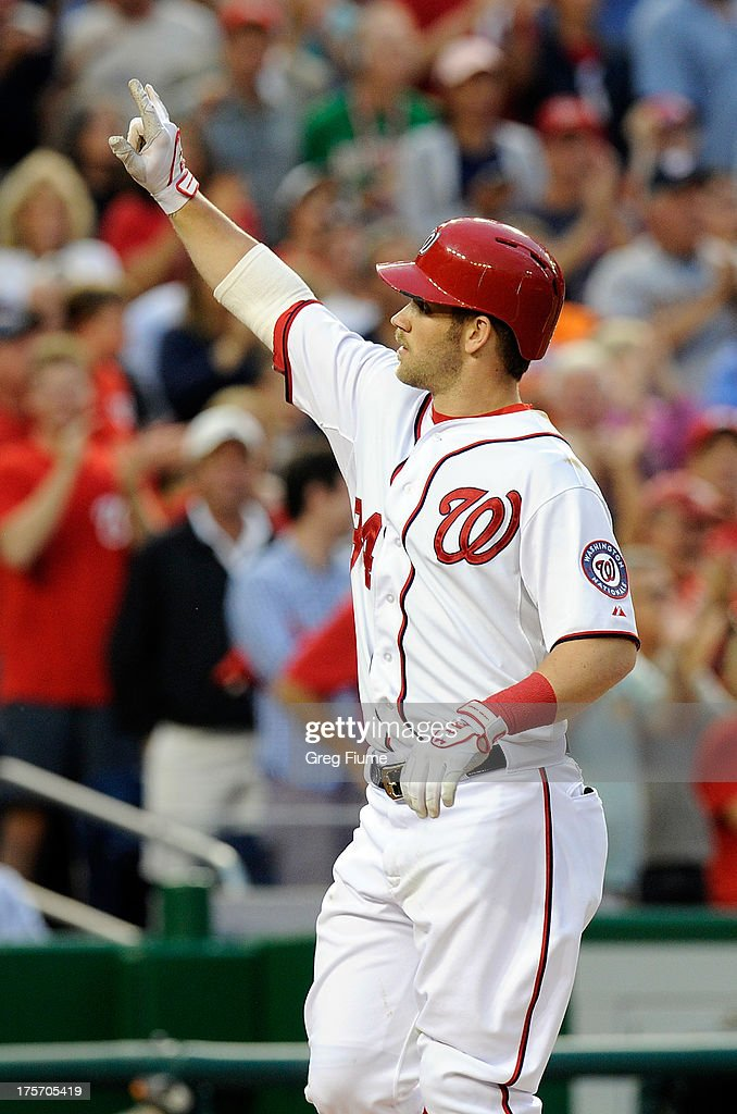 <a gi-track='captionPersonalityLinkClicked' href=/galleries/search?phrase=Bryce+Harper&family=editorial&specificpeople=5926486 ng-click='$event.stopPropagation()'>Bryce Harper</a> #34 of the Washington Nationals celebrates after hitting a home run in the third inning against the Atlanta Braves at Nationals Park on August 6, 2013 in Washington, DC.