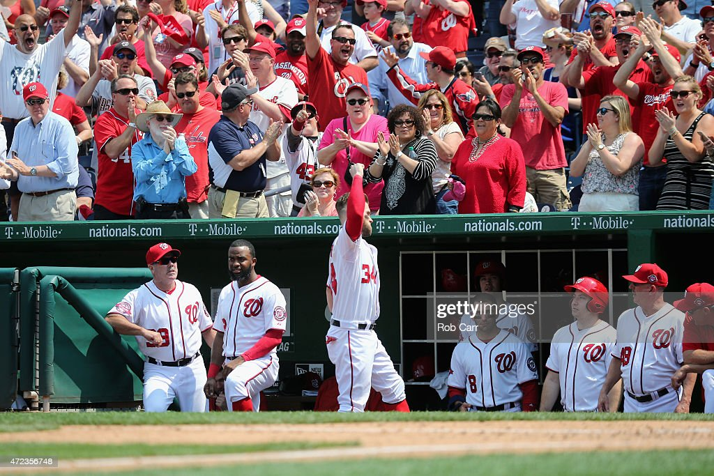 <a gi-track='captionPersonalityLinkClicked' href=/galleries/search?phrase=Bryce+Harper&family=editorial&specificpeople=5926486 ng-click='$event.stopPropagation()'>Bryce Harper</a> #34 of the Washington Nationals comes out of the dugout to acknowledge the crowd after hitting a solo home run against the Miami Marlins in the fifth inning at Nationals Park on May 6, 2015 in Washington, DC.
