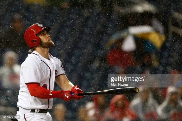 Bryce Harper of the Washington Nationals flies out against the Seattle Mariners for the second out of the third inning at Nationals Park on May 23...