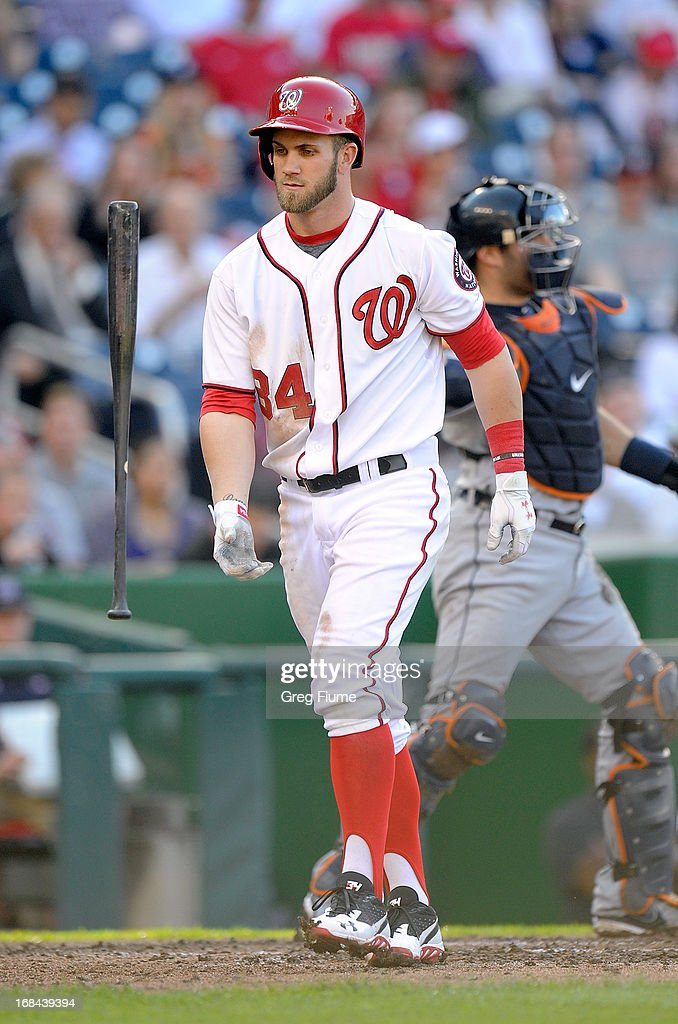 <a gi-track='captionPersonalityLinkClicked' href=/galleries/search?phrase=Bryce+Harper&family=editorial&specificpeople=5926486 ng-click='$event.stopPropagation()'>Bryce Harper</a> #34 of the Washington Nationals flips his bat after striking out in the fourth inning against the Detroit Tigers at Nationals Park on May 9, 2013 in Washington, DC.