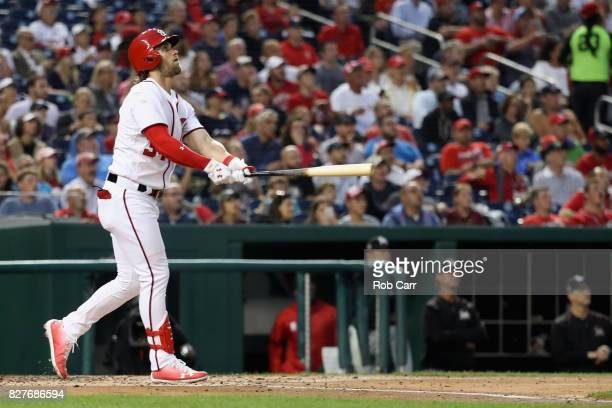 Bryce Harper of the Washington Nationals follows his solo home run for his 150th career homer in the fourth inning against the Miami Marlins at...