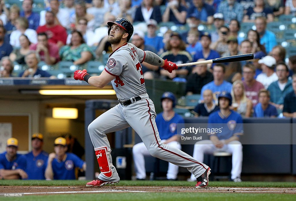 Bryce Harper #34 of the Washington Nationals hits a double in the first inning against the Milwaukee Brewers at Miller Park on June 24, 2016 in Milwaukee, Wisconsin.