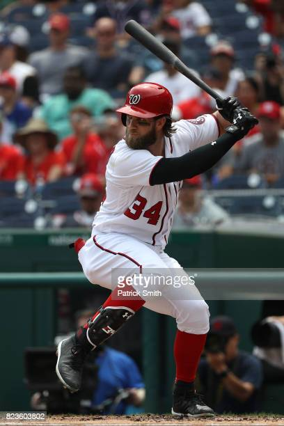 Bryce Harper of the Washington Nationals hits a home run during the first inning against the Milwaukee Brewers at Nationals Park on July 27 2017 in...