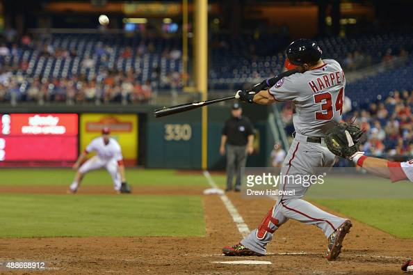 Bryce Harper of the Washington Nationals hits a home run in the seventh inning against the Philadelphia Phillies at Citizens Bank Park on September...