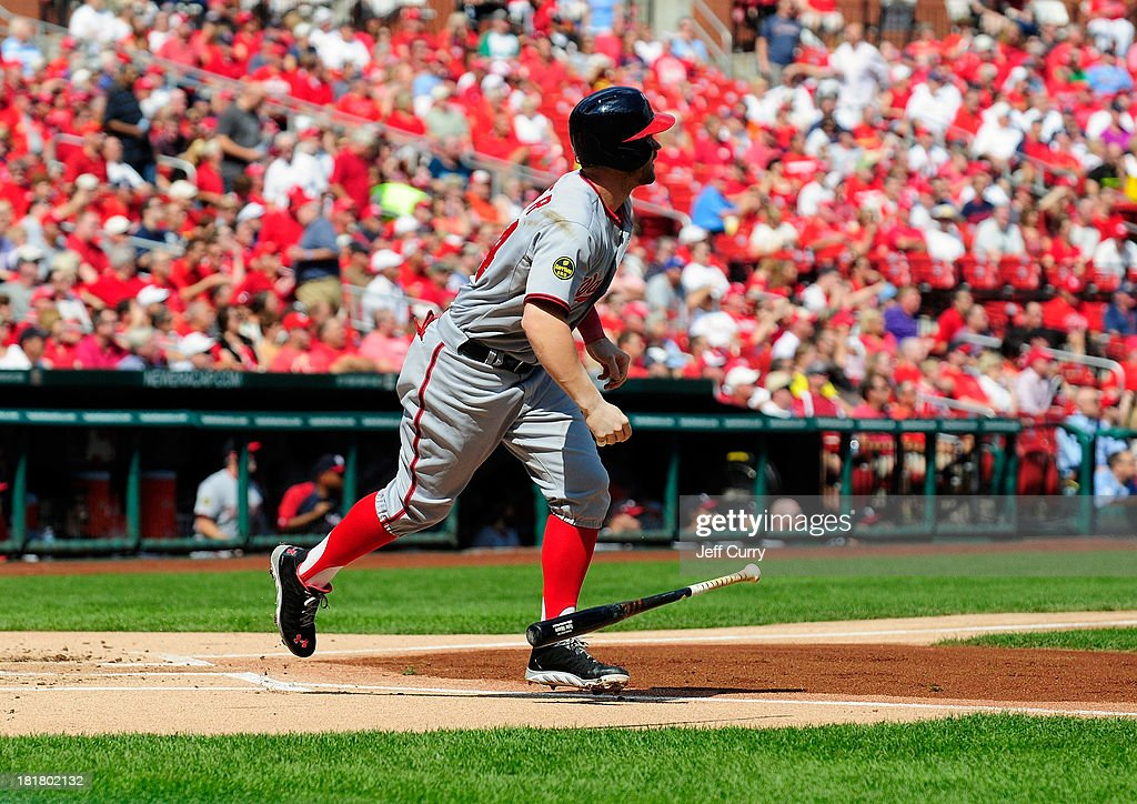 <a gi-track='captionPersonalityLinkClicked' href=/galleries/search?phrase=Bryce+Harper&family=editorial&specificpeople=5926486 ng-click='$event.stopPropagation()'>Bryce Harper</a> #34 of the Washington Nationals hits a one run single off of Shelby Miller #40 of the St. Louis Cardinals during the first inning at Busch Stadium on September 25, 2013 in St. Louis, Missouri.