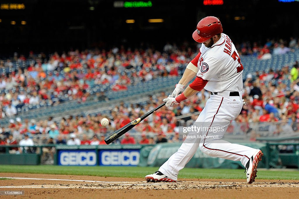 <a gi-track='captionPersonalityLinkClicked' href=/galleries/search?phrase=Bryce+Harper&family=editorial&specificpeople=5926486 ng-click='$event.stopPropagation()'>Bryce Harper</a> #34 of the Washington Nationals hits a pop fly to second in the first inning during a game against the Milwaukee Brewers at Nationals Park on July 2, 2013 in Washington, DC.