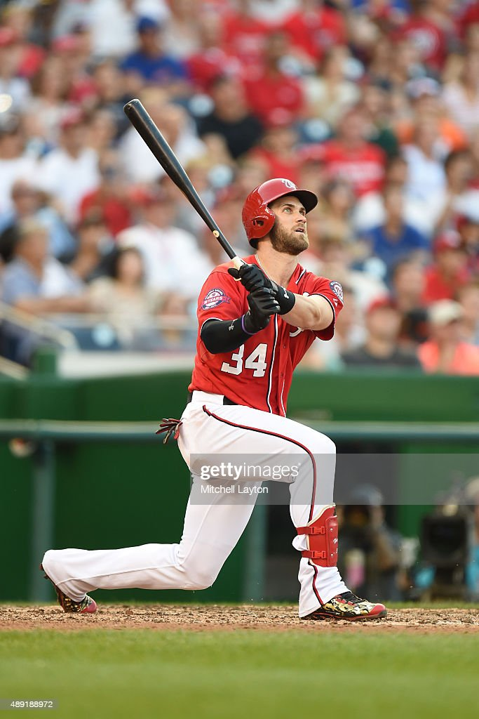 Bryce Harper of the Washington Nationals hits a two run home run in the seventh inning during a baseball game against the Miami Marlins at Nationals...