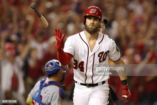 Bryce Harper of the Washington Nationals hits a two run home run against the Chicago Cubs in the eighth inning during game two of the National League...