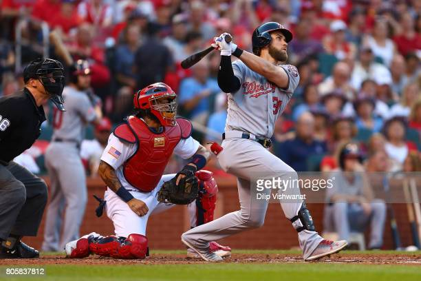 Bryce Harper of the Washington Nationals hits a tworun home run against the St Louis Cardinals in the third inning at Busch Stadium on July 2 2017 in...