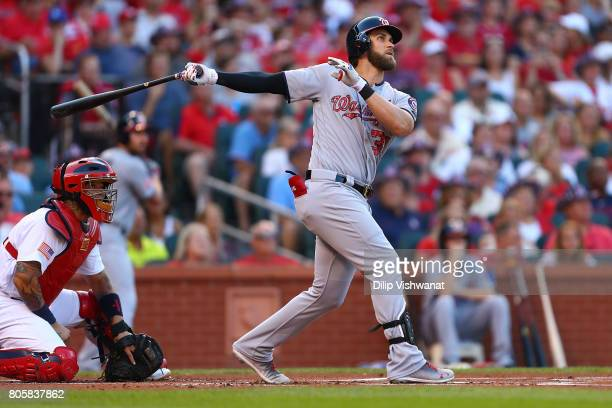 Bryce Harper of the Washington Nationals hits a tworun home run against the St Louis Cardinals in the first inning at Busch Stadium on July 2 2017 in...