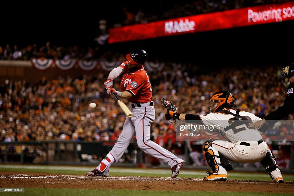 <a gi-track='captionPersonalityLinkClicked' href=/galleries/search?phrase=Bryce+Harper&family=editorial&specificpeople=5926486 ng-click='$event.stopPropagation()'>Bryce Harper</a> #34 of the Washington Nationals hits an RBI double scoring <a gi-track='captionPersonalityLinkClicked' href=/galleries/search?phrase=Ian+Desmond&family=editorial&specificpeople=835572 ng-click='$event.stopPropagation()'>Ian Desmond</a> #20 in the fifth inning against the San Francisco Giants during Game Four of the National League Division Series at AT&T Park on October 7, 2014 in San Francisco, California.