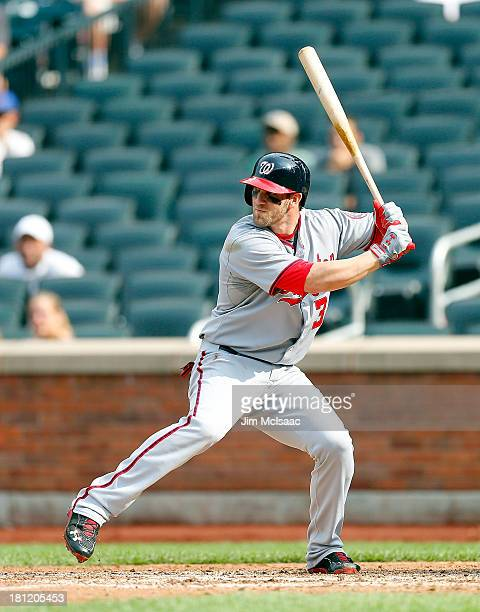 Bryce Harper of the Washington Nationals in action against the New York Mets at Citi Field on September 12 2013 in the Flushing neighborhood of the...