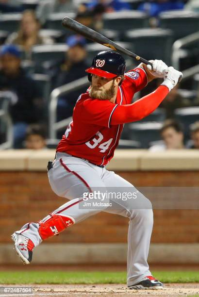 Bryce Harper of the Washington Nationals in action against the New York Mets at Citi Field on April 23 2017 in the Flushing neighborhood of the...