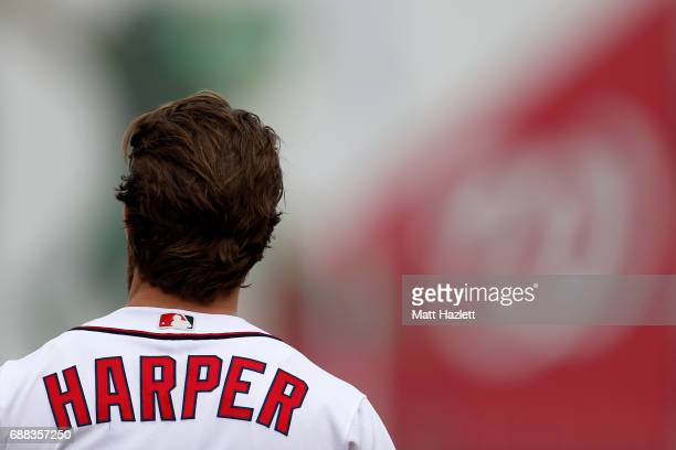 Bryce Harper of the Washington Nationals looks on after grounding out for the third out of the fifth inning against the Seattle Mariners at Nationals...