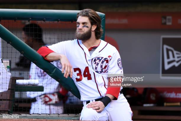 Bryce Harper of the Washington Nationals looks on during a baseball game against the Pittsburgh Pirates at Nationals Park on October 1 2017 in...