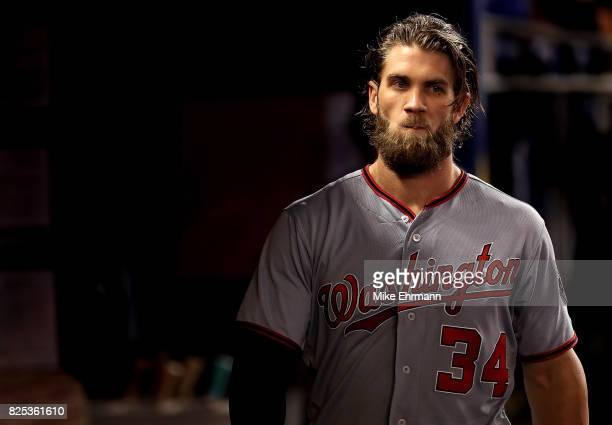 Bryce Harper of the Washington Nationals looks on during a game against the Miami Marlins at Marlins Park on August 1 2017 in Miami Florida