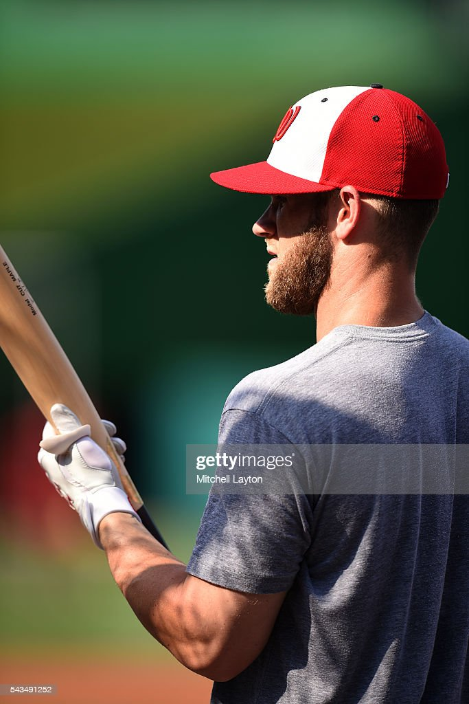 <a gi-track='captionPersonalityLinkClicked' href=/galleries/search?phrase=Bryce+Harper&family=editorial&specificpeople=5926486 ng-click='$event.stopPropagation()'>Bryce Harper</a> #34 of the Washington Nationals looks on during batting practice of a baseball game against the New York Mets at Nationals Park on June 28, 2016 in Washington, DC.