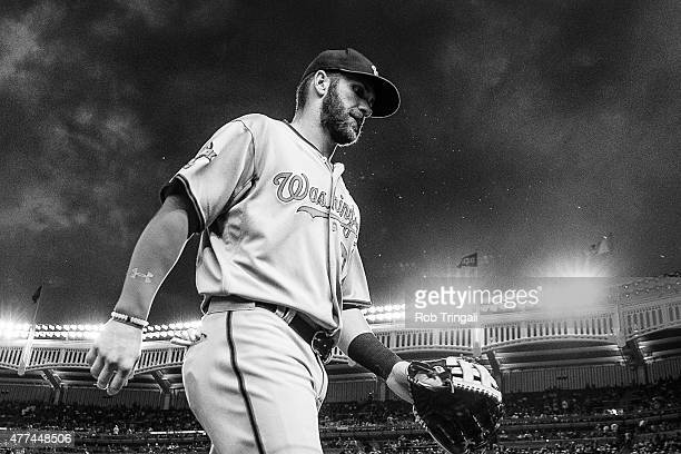 Bryce Harper of the Washington Nationals looks on during the game against the New York Yankees at Yankee Stadium on June 9 2015 in the Bronx borough...