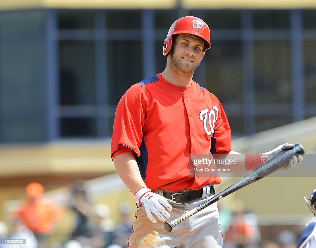 <a gi-track='captionPersonalityLinkClicked' href=/galleries/search?phrase=Bryce+Harper&family=editorial&specificpeople=5926486 ng-click='$event.stopPropagation()'>Bryce Harper</a> #34 of the Washington Nationals looks on while batting during the spring training game against the Detroit Tigers at Joker Marchant Stadium on March 10, 2013 in Lakeland, Florida. The Tigers defeated the Nationals 2-1.