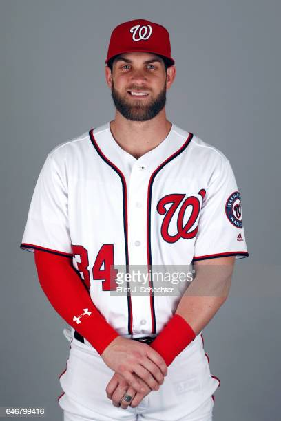 Bryce Harper of the Washington Nationals poses during Photo Day on Thursday February 23 2017 at the Ballpark of the Palm Beaches in West Palm Beach...