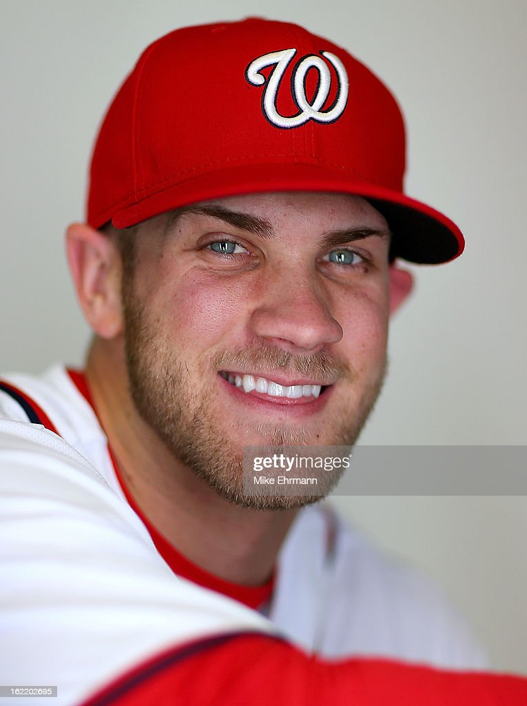<a gi-track='captionPersonalityLinkClicked' href=/galleries/search?phrase=Bryce+Harper&family=editorial&specificpeople=5926486 ng-click='$event.stopPropagation()'>Bryce Harper</a> #34 of the Washington Nationals poses for a portrait during photo day at Space Coast Stadium on February 20, 2013 in Viera, Florida.