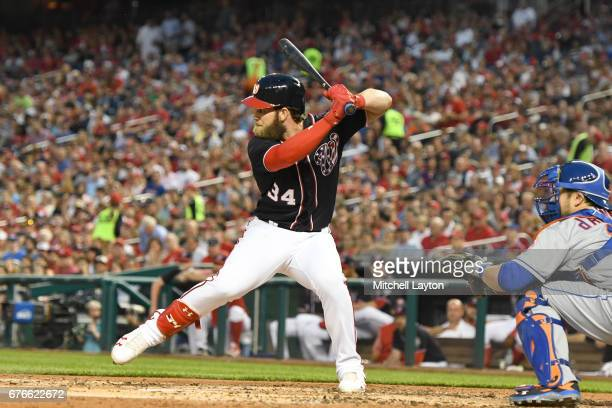 Bryce Harper of the Washington Nationals prepares for a pitch during a baseball game against the New York Mets at Nationals Park on April 28 2017 in...
