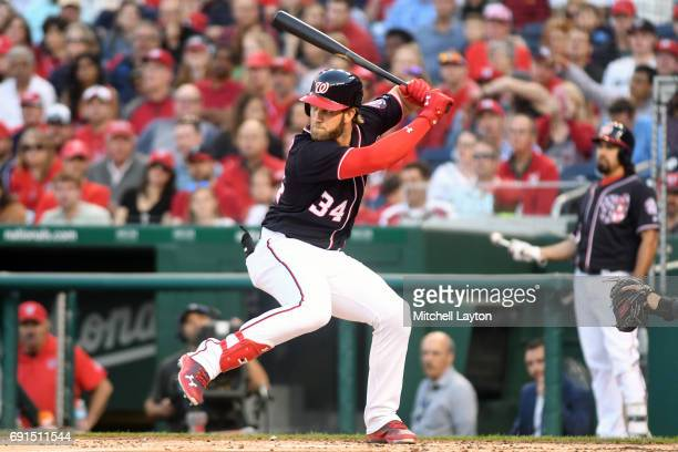 Bryce Harper of the Washington Nationals prepares for a pitch during a baseball game against the San Diego Padres at Nationals Park on May 26 2017 in...