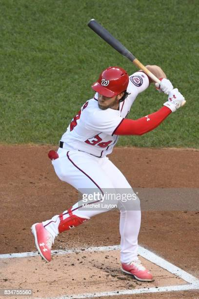 Bryce Harper of the Washington Nationals prepares for a pitch during a baseball game against the Miami Marlins at Nationals Park on August 9 2017 in...