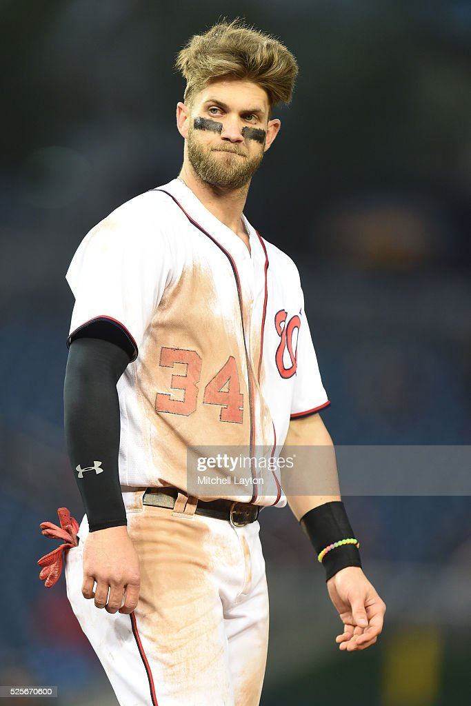 <a gi-track='captionPersonalityLinkClicked' href=/galleries/search?phrase=Bryce+Harper&family=editorial&specificpeople=5926486 ng-click='$event.stopPropagation()'>Bryce Harper</a> #34 of the Washington Nationals reacts after grounding out with bases loaded in the eighth inning during a baseball game against the Philadelphia Phillies at Nationals Park on April 28, 2016 in Washington, D.C. The Phillies won 3-0.