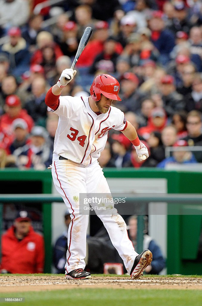 Bryce Harper #34 of the Washington Nationals reacts after striking out in the seventh inning against the Miami Marlins at Nationals Park on April 4, 2013 in Washington, DC.