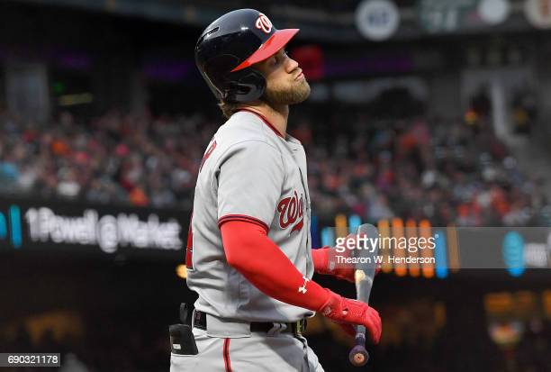 Bryce Harper of the Washington Nationals reacts after striking out with the bases loaded against the San Francisco Giants in the top of the second...