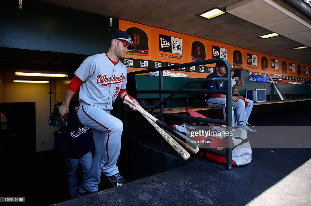 <a gi-track='captionPersonalityLinkClicked' href=/galleries/search?phrase=Bryce+Harper&family=editorial&specificpeople=5926486 ng-click='$event.stopPropagation()'>Bryce Harper</a> #34 of the Washington Nationals stands in the dugout before their game against the San Francisco Giants at AT&T Park on May 22, 2013 in San Francisco, California.