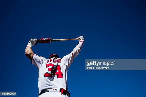 Bryce Harper of the Washington Nationals stands on deck in the first inning during game two of the National League Division Series against the Los...