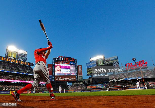 Bryce Harper of the Washington Nationals swings in the on deck circle before his first at bat during the first inning against of the New York Mets on...
