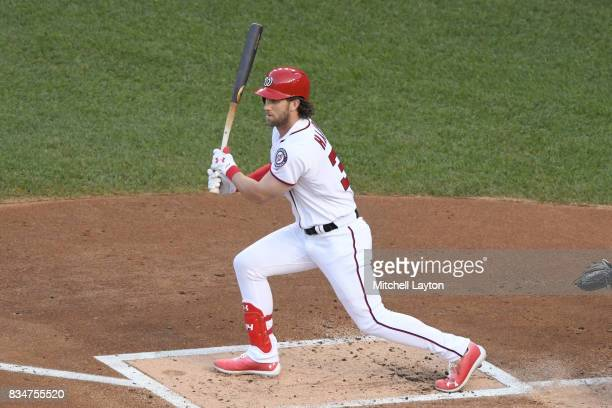 Bryce Harper of the Washington Nationals takes a swing during a baseball game against the Miami Marlins at Nationals Park on August 9 2017 in...