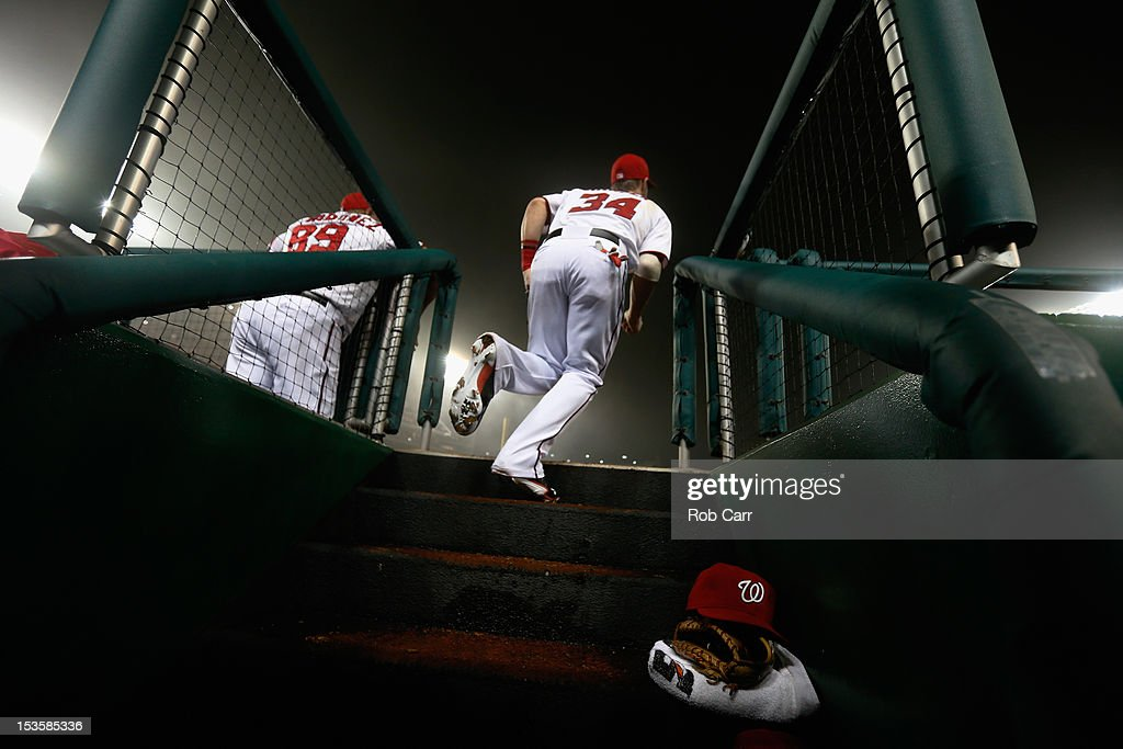 <a gi-track='captionPersonalityLinkClicked' href=/galleries/search?phrase=Bryce+Harper&family=editorial&specificpeople=5926486 ng-click='$event.stopPropagation()'>Bryce Harper</a> #34 of the Washington Nationals takes the field before the start of the third inning against the Philadelphia Phillies at Nationals Park on October 2, 2012 in Washington, DC.