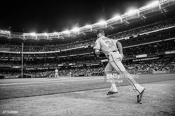 Bryce Harper of the Washington Nationals takes the field in between inning during the game against the New York Yankees at Yankee Stadium on June 9...