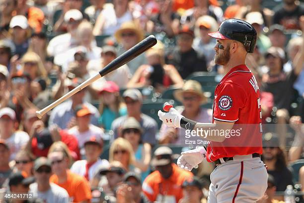 Bryce Harper of the Washington Nationals tosses his bat in the air after striking out in the first inning against the San Francisco Giants at ATT...
