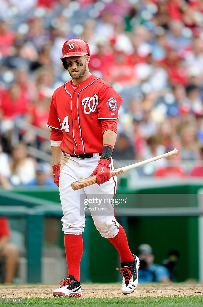 <a gi-track='captionPersonalityLinkClicked' href=/galleries/search?phrase=Bryce+Harper&family=editorial&specificpeople=5926486 ng-click='$event.stopPropagation()'>Bryce Harper</a> #34 of the Washington Nationals walks to the dugout after striking out in the eighth inning against the Milwaukee Brewers at Nationals Park on July 20, 2014 in Washington, DC.