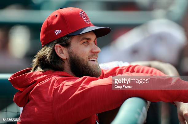 Bryce Harper of the Washington Nationals watches the game in the sixth inning against the Philadelphia Phillies at Nationals Park on September 10...