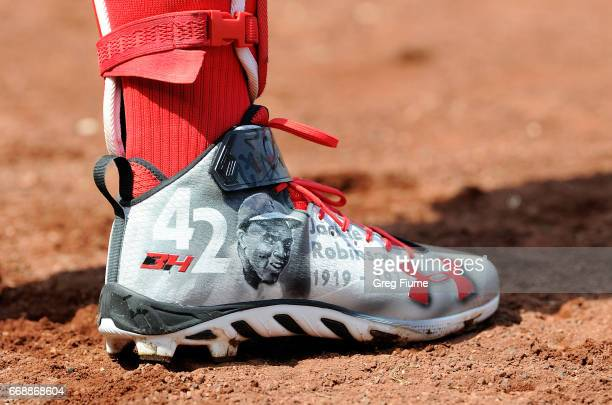 Bryce Harper of the Washington Nationals wears special shoes in honor of Jackie Robinson Day during the game against the Philadelphia Phillies at...